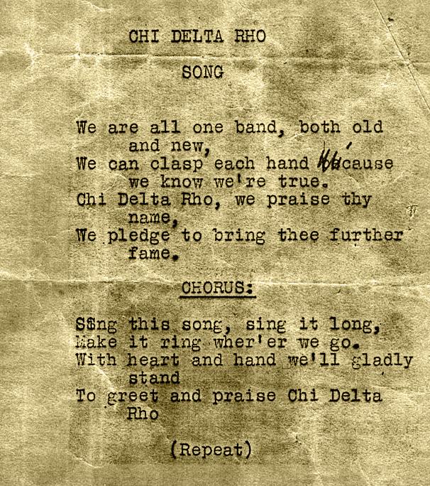 Chi Delta Rho Song
