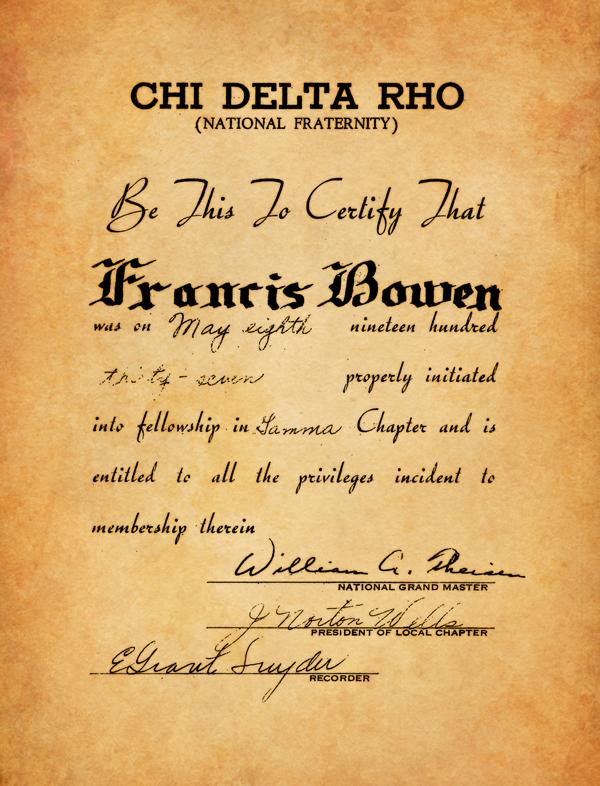 Chi Delta Rho Membership Certificate