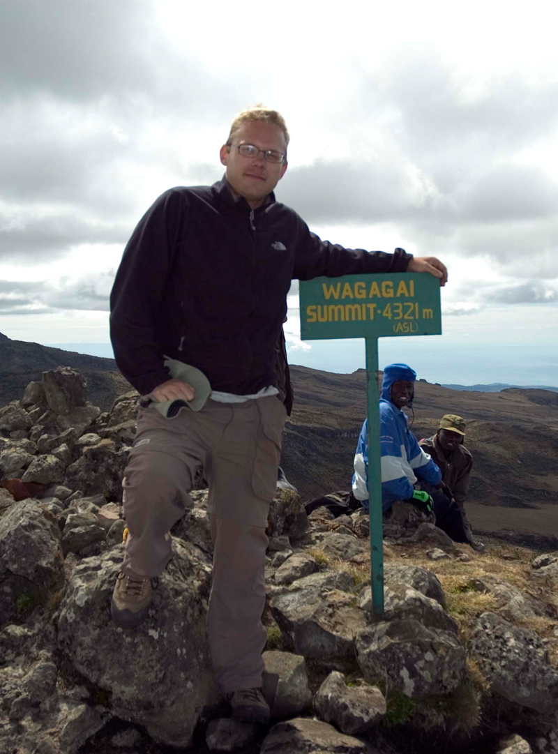 Matthew Nelson at the summit of Mt. Elgon