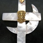 Coat of Arms on a Mother of Pearl Cross & Crescent