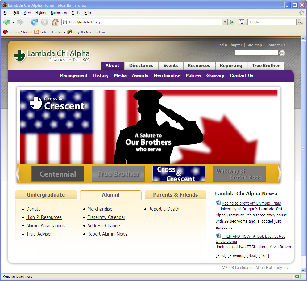 Lambda Chi Alpha website design 2008